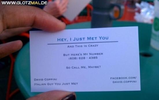 Call Me Maybe Visitenkarte