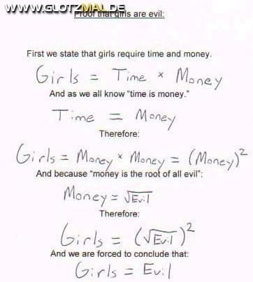 Beweis, dass Mädchen BÖSE sind